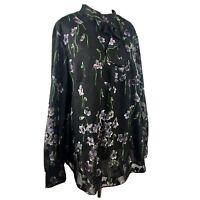SIZE 16W Ralph Lauren Chiffon Overlay Floral Shirt Top Blouse Womens Plus 1X NWT
