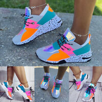 Women's Casual Lace Up Sport Chunky Trainers Ladies Platform Sneakers Shoes Size