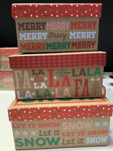3  Christmas Gift Boxes w/ Lids Nesting Tiered Boxes for  Display or Presents