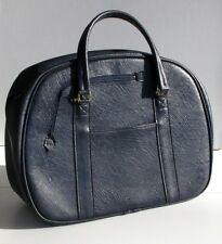 Ancien Sac de Tennis en simili cuir bleu marine  - Vintage -France -Compartiment