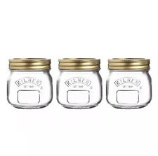 SET OF 3 KILNER 0.25 LITRE SCREW TOP PRESERVING JARS