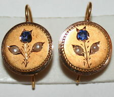 ANTIQUE VICTORIAN FRENCH 18K GOLD 14mm ROUND FLOWER SAPPHIRE PEARL EARRINGS 1880