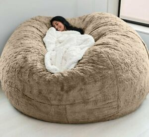 183x90 cm  Giant Fluffy Fur Bean Bag Bed Slipcover Case Floor Seat Couch Futon