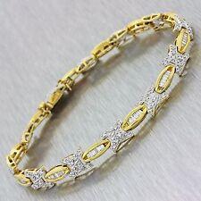 Vintage Estate 18k Solid Yellow Gold 2ctw Diamond Bracelet