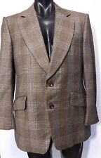 70's MIKE TRELOAR WOOL PLAID SPORTS JACKET VINTAGE SIZE 42 DISCO BLAZER BROWN