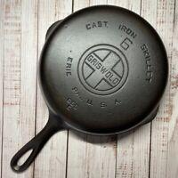 Vintage GRISWOLD #6 Cast Iron SKILLET Frying Pan #699E—Large Block Logo—RESTORED