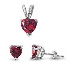 Ruby Heart .925 Sterling Silver Pendant & Earrings Set