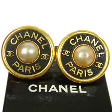 """Authentic CHANEL Vintage CC Logos Imitation Pearl Earrings Clip-On 1.9 """" V01041"""