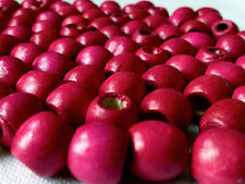 100 x CERISE PINK COLOUR ROUND WOOD BEADS 12 mm = W0031