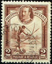 British Guiana Colonial Culture Indian Shooting Fish stamp 1935