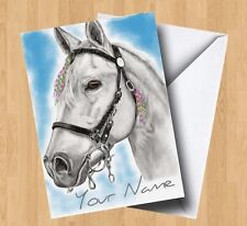 Personalised White Horse (Art/Painting) Birthday Card