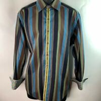 Robert Graham Knowledge Wisdom Truth Mens Button Front Shirt Blue Stripe L