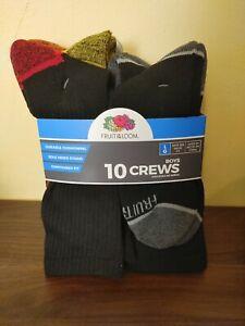 Fruit of the Loom Boys Crew Socks, 10 Pack, Size L 3-9