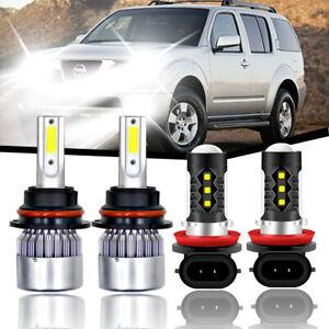 4x For Nissan Pathfinder 2005-2012 Combo 9007 & H11 LED Headlight Fog Light Bulb