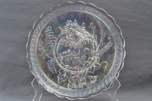 Imperial Glass Plate, 1970's White Carnival Chrysanthemum Plate