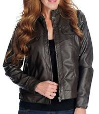 NEW One World Faux Leather Long Sleeved Perforated Detail Zip Front Jacket - 1X