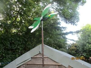 Garden Colourful wooden bird wind spinner