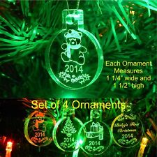 Baby's First Christmas Ornaments Miniature Personalized w Year Acrylic Set of 4