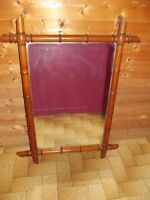 Ancien Rare Miroir de Barbier Vintage 1939 bois imitation bambou 71 x 95 cm