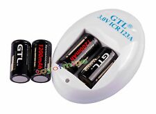 4x CR123A 3V CR123 CR Rechargeable Battery 3.0V + Charger USA