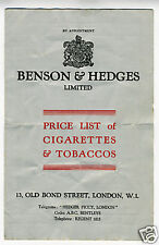 Old Benson & Hedges Price List Cigarettes & Tobacco UK