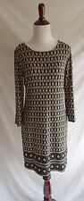 Michael Kors MK 4 Retro Oval Black Green Print Shift Tunic Dress Exposed Zipper