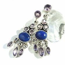 Amethyst Lapis Lazuli Ohrhänger Earrings 925 Silber UNIKAT Gothic EDEL lila