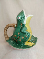 Frog on Lilypad Pitcher Jay Willfred Andrea by Sadek Green and Pink and Yellow