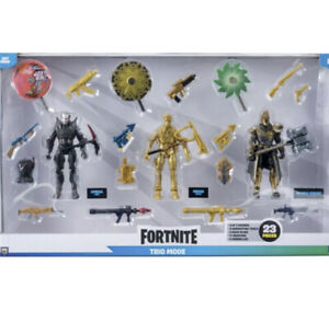 """Fortnite Trio Mode 3 4"""" Figure pack 23 Pieces Tools Weapons Backpacks Gold Midas"""