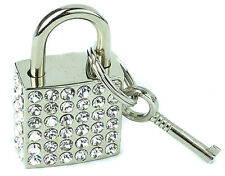 Rhinestone Padlock With Key Real Working Premium Lock Pendant Choker Necklace
