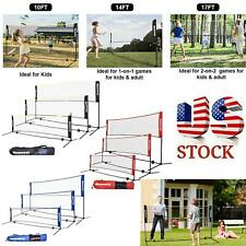 10-17 Ft Portable Badminton Volleyball Tennis Net Set with Stand/Frame Carry Bag