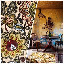 New Novelty Belgium Burnout Chenille Velvet Fabric Upholstery- Yellow Floral