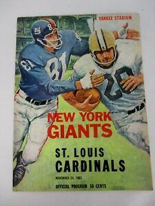 NOVEMBER 24, 1963 NEW YORK GIANTS vs ST LOUIS CARDINALS FOOTBALL PROGRAM