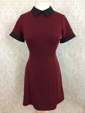 Forever 21 Dress Sz Small Collar Short Sleeve Burgundy Wednesday Addams