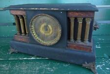 ANTIQUE BLACK SESSIONS SHELF MANTEL CLOCK PARTS REPAIR ROMAN PILLAR LIONS HEAD