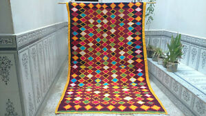 Handmade Moroccan Rug Vintage Azilal Wool Rug Beni Ourain Tribal Carpet
