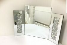 Dressing Table Mirror Sparkly Silver Diamond Crush Crystal Home Deco
