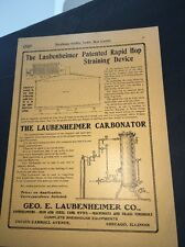 Laubenheimer   Brewing Equipment Beer Ad 1907 Brewery Carbonating & Hop Strainer