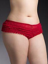 New Torrid PinUp Burlesque Cherry Red Glitter Rumba Ruffle Panty Plus 1x