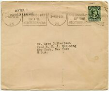 GIBRALTAR 1/2d to USA HANDSTAMP LETTER 1 WORLD LETTERS PRINTED RATE MACHINE PMK