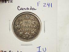 """1872 25 Cents KM# 5 """"Canada"""" """"Silver""""  F 241"""