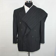 Hugo Boss Men's Double Breasted Suit 40S 39x27 Black Pin Stripe
