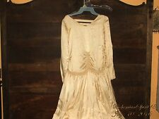 ANTIQUE RARE 1910's VINTAGE BRIDAL SILK WEDDING DRESS  OFF WHITE SZ M  AS IS