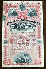 MEXICO 1898 5% DEUDA INTERIOR $100 LETRA H
