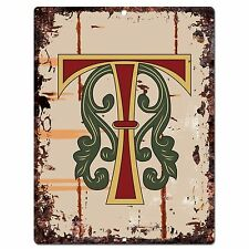 PP0528 Alphabet Medieval Initial Letter T Chic Sign Bar Shop Store Home Decor