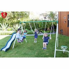 Metal Swing Set Play Slide  Outdoor Kids Backyard Playset Sportspower Live Oak