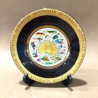 Australia Souvenir Plate w Stand-High Quality Australian Map & Animal