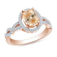 Morganite & Round Cut Diamond Rose Gold Plated Sterling Silver 925 Halo Ring