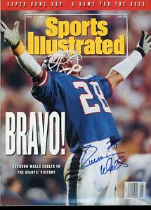 EVERSON WALLS NEW YORK GIANTS NO LABEL SPORTS ILLUSTRATED signed autographed