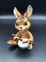 "Goebel Bunny Rabbit Playing Drums West Germany Figurine, 4 3/8"" Tall, 2 3/4"" W"